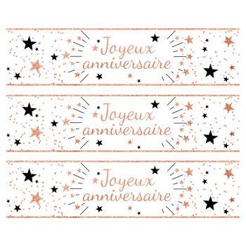 3 Bänder mit Kuchen Zucker Dekor Happy Geburtstag gold rosa