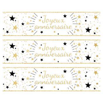 3 Bänder Mit Kuchen Zucker Dekor Happy Geburtstag Gold