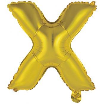 Mini Luftballon Alu-Buchstaben X gold