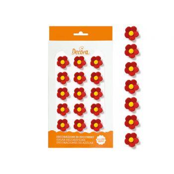 16 Rote Blumen aus Zucker 2cm