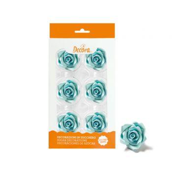 6 Rosen aus hellblauem Zucker