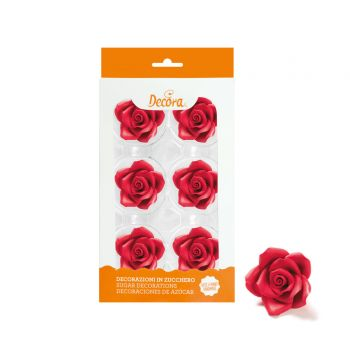 6 Rosen aus zuckerrot