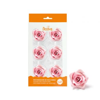 6 Rosen in rosa Zucker