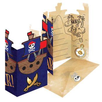 8 Einladungen Karte Pirate rot