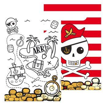 8 Beutel Papier Karte Pirate rot