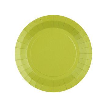 10 kleine runde, kompostierbare Teller regenbow grün kiwi