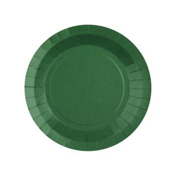 10 kleine runde, dunkelgrüne, kompostierbare Teller