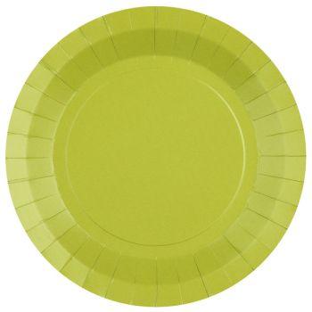 10 runde, kompostierbare Teller regenbow grün kiwi