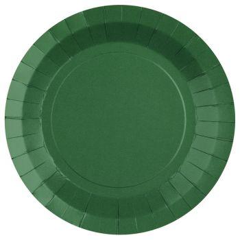 10 runde, dunkelgrüne, kompostierbare Teller