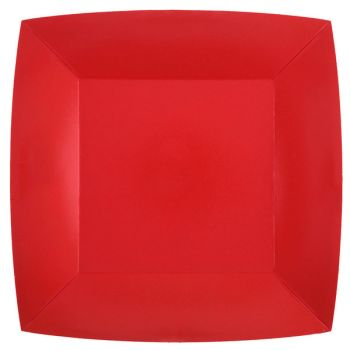 10 quadratische, kompostierbare, roter Teller