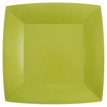 10 quadratische, kompostierbare Teller rainbow grün kiwi