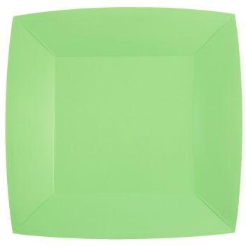 10 quadratische, kompostierbare Teller rainbow mint