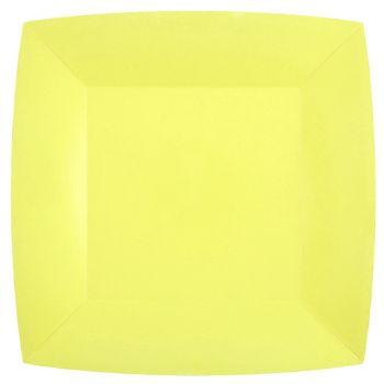 10 quadratische Teller kompostierbar rainbow zitronengelb
