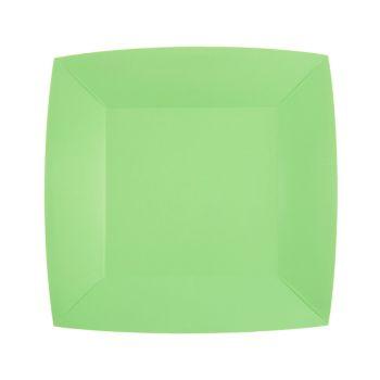 10 kleine quadratische, kompostierbare Teller rainbow mint