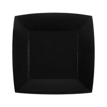 10 kleine quadratische, kompostierbare Teller rainbow schwarz