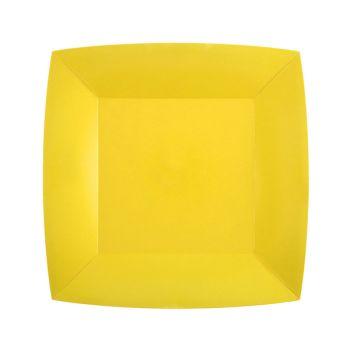 10 kleine quadratische, kompostierbare, eckig-gelbe Teller