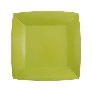 10 kleine quadratische, kompostierbare Teller regenbow grün kiwi