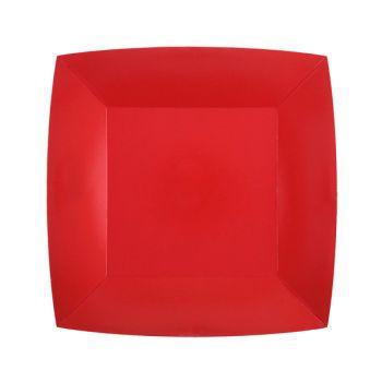 10 kleine quadratische, kompostierbare, roter Platte