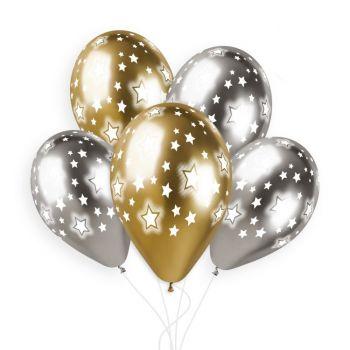 5 Luftballon Shiny Gold Silber Ø33cm