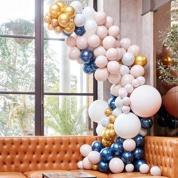 200 luftballon Luxus-Arche-Kit, Navy and gold