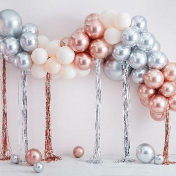 Luxus-Bogen-Kit von 95 luftballon Chrom Gold, Silber und Weiß