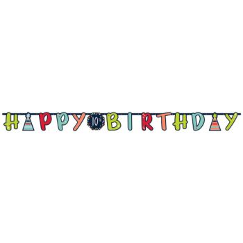 Anpassbares Banner Happy Birthday color black