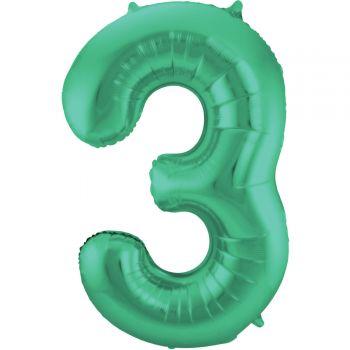 Luftballon riese metallisierte grüne Zahl Nr. 3 86cm