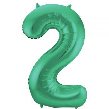Luftballon riese metallisierte grüne Zahl Nr. 2 86cm