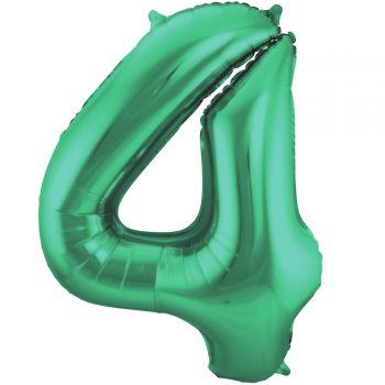 Luftballon riese metallisierte grüne Zahl Nr. 4 86cm