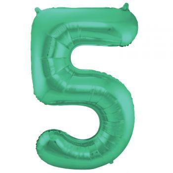 Luftballon riese metallisierte grüne Zahl Nr. 5 86cm