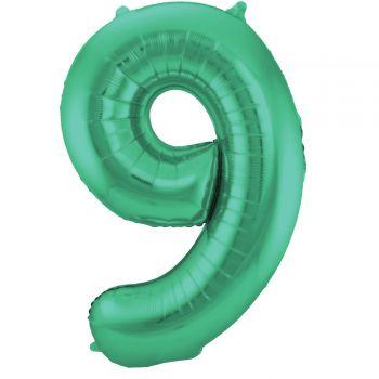 Luftballon riese metallisierte grüne Zahl Nr. 9 86cm