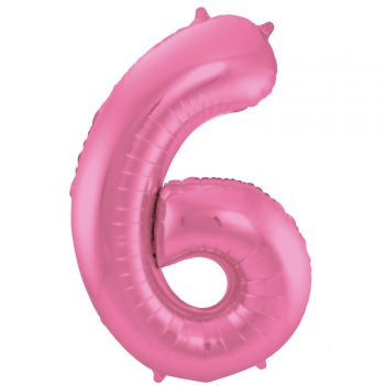 Luftballon riese metallisierte rosa Ziffer N°6 86cm