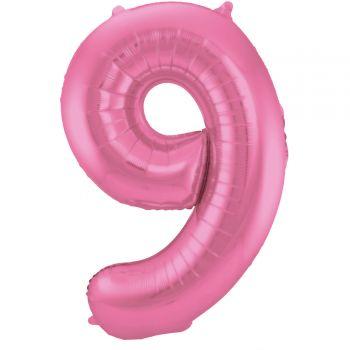 Luftballon riese metallisierte rosa Ziffer Nr. 9 86cm