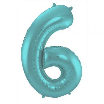 Luftballon riese zahl aqua pastell matt N°6 86cm