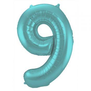 Luftballon riese aqua pastell matte Ziffer N°9 86cm