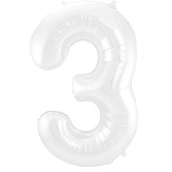 Luftballon riese weiß matt Ziffer N°3 86cm