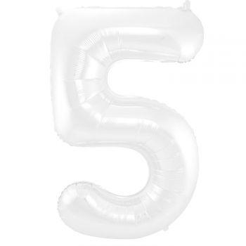 Luftballon riese weiß matte Ziffer N°5 86cm