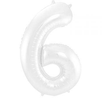 Luftballon riese weiß matte Ziffer N°6 86cm
