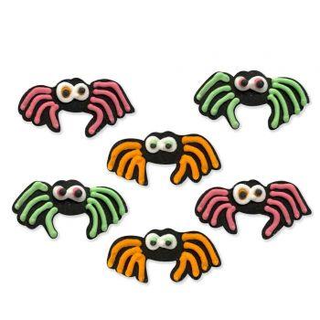 6 Spider Neon Halloween Dekorfiguren in Zucker