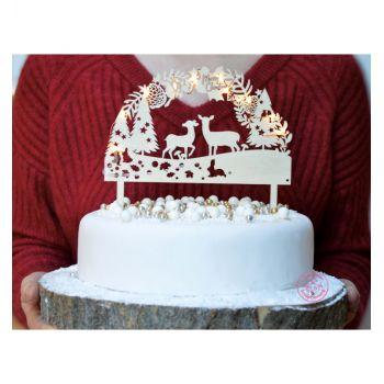 Cake Topper aus hellem Holz Zauberwald Scrapcooking