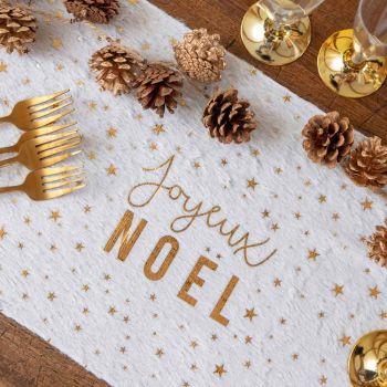 Pelz tisch Weg Frohe Weihnachten weiß und gold