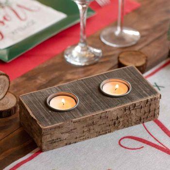 Kerzen Holz Rinde
