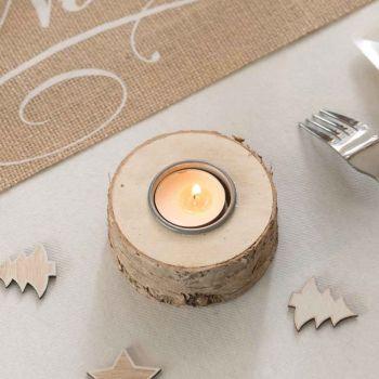 Tür runde Holz Kerze helle Rinde