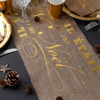 Weg des Tisches Jute Es war einmal Weihnachten Gold