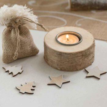 12 Holzdekorationen Sterne und Tannenbäume