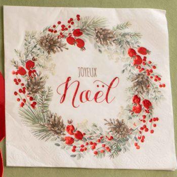 20 servietten Rote und Grüne Weihnachtsgirlande