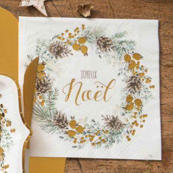 20 servietten Grüne und Goldene Weihnachtsgirlande