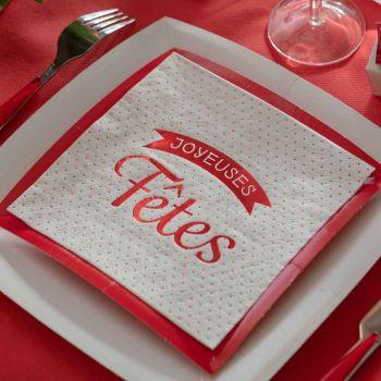 20 servietten Frohe Feiertage rote weiße Erbsen
