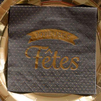 20 servietten Frohe Feiertage schwarzes Erbsengold