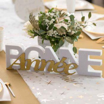 Brief Frohes Neues Jahr weiß und gold